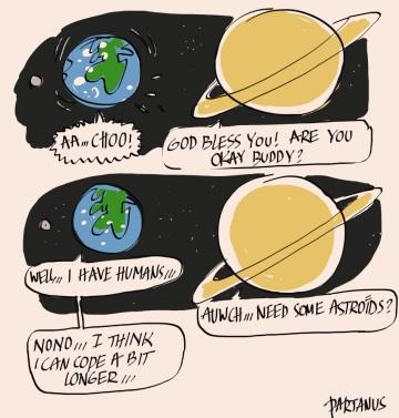 earth is sick sickness cold cartoon saturn