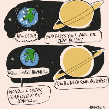 earth is sick sickness cold cartoon saturn