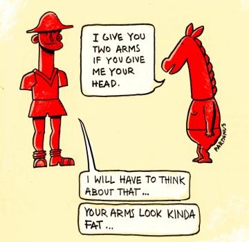 trading missing body parts cartoon horse head