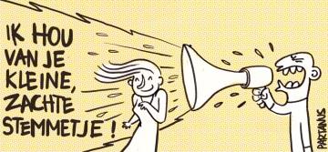 zachte stem harde stem geluid brullen cartoon