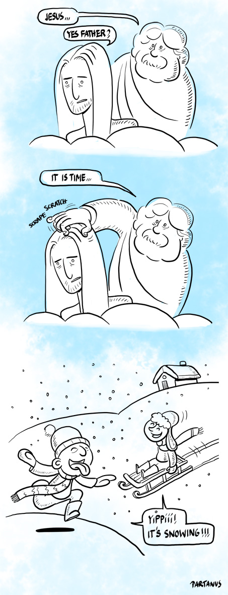 snow God Jesus cartoon
