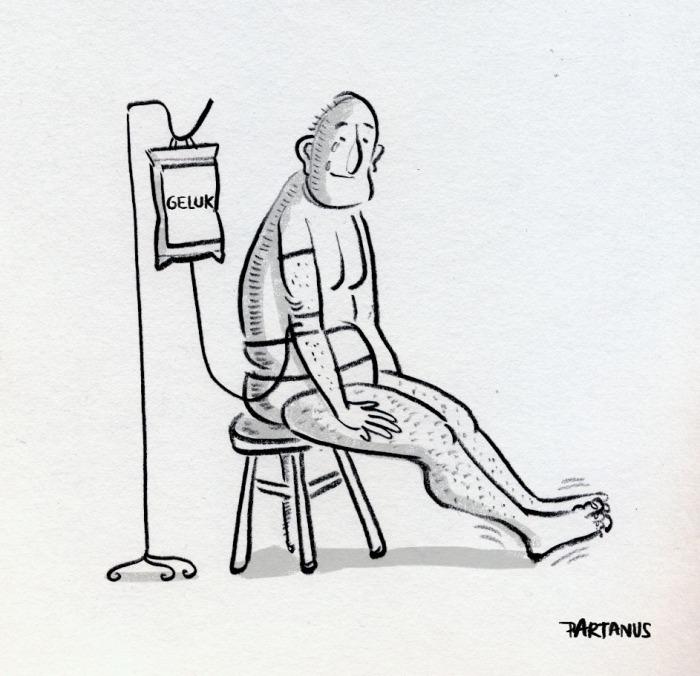 """geluk baxter medicatie psychiatrie cartoon """"pil voor geluk"""""""
