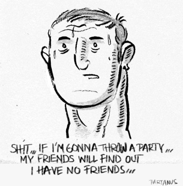 """""""throwing a party"""" """"no friends"""" cartoon"""