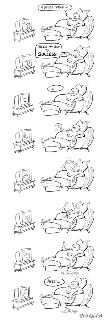 """succes cartoon """"the way to success"""" """"lazy person"""""""