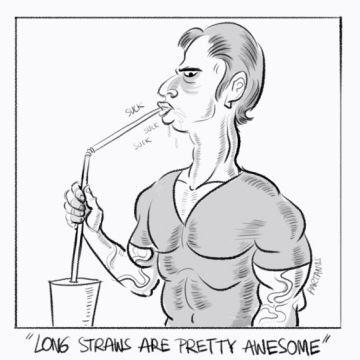 "cartoon ""long straws are awesome"" ""drink straw"" ""sucking on straw"""