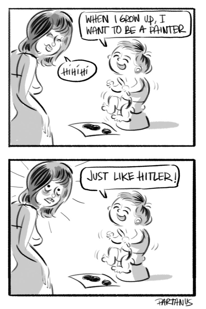 "cartoon baby ""when I grow up"" painter hitler"