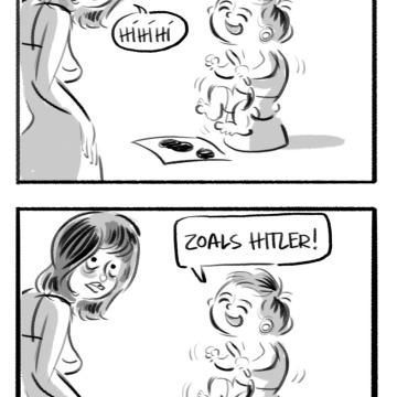 "kleuter cartoon ""wanner ik groot ben"" schilder Hitler"