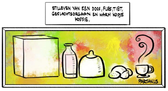 cartoon, stilleven, kunst, schilderij, doos, fles, tiet, genitaliën, koffie