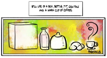 cartoon, painting, art, genitals, cup of coffee, tit, box, bottle