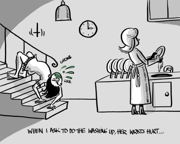 "wrists, cartoon, ""washing up"", ""the exorcist"""
